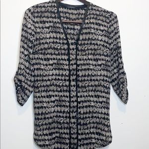 DYNAMITE Houndstooth Pleather Trimmed Blouse 3/4